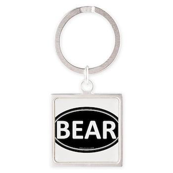 BEAR Black Euro Oval Square Keychain