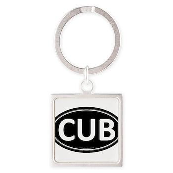 CUB Black Euro Oval Square Keychain