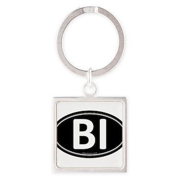 BI Black Euro Oval Square Keychain