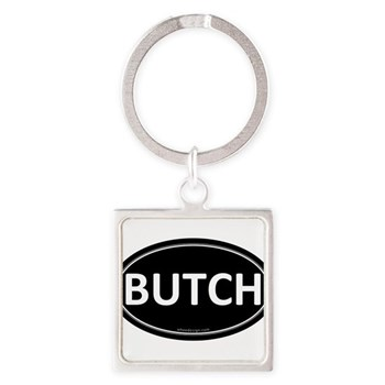 BUTCH Black Euro Oval Square Keychain