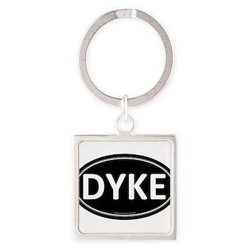DYKE Black Euro Oval Square Keychain