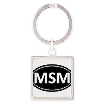 MSM Black Euro Oval Square Keychain