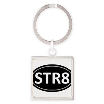 STR8 Black Euro Oval Square Keychain