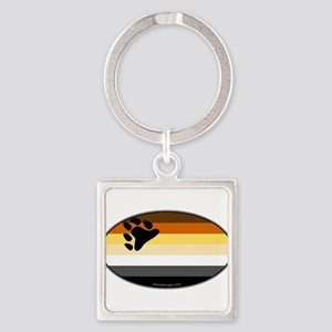 Oval Bear Pride Flag Square Keychain