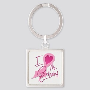 I Heart/Support My Grandma Square Keychain