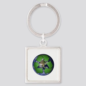 Green Recycle on Earth Square Keychain