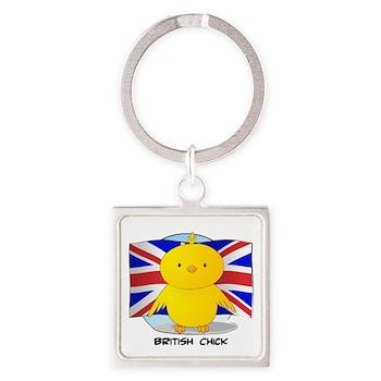 British Chick Square Keychain