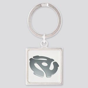 Silver 3D 45 RPM Adapter Square Keychain