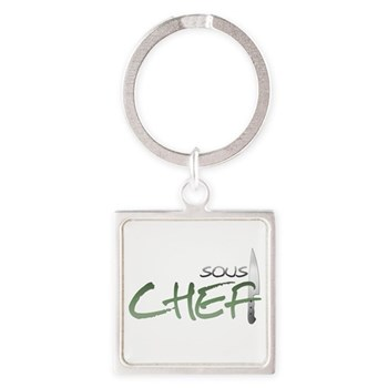 Green Sous Chef Square Keychain