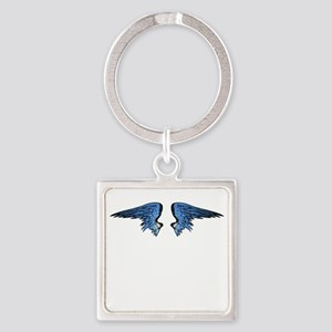 Blue Angel Wings Square Keychain