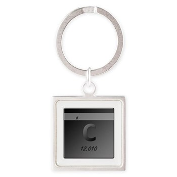 Carbon (C) Square Keychain