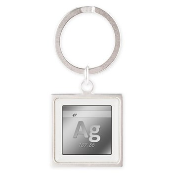Silver (Ag) Square Keychain