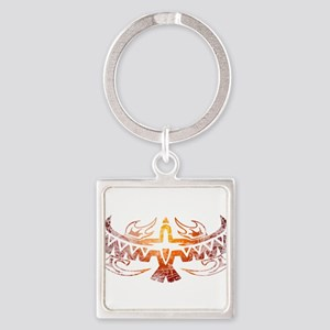 Tribal Thunderbird Tattoo Square Keychain