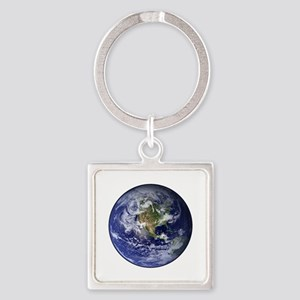 Western Earth from Space Square Keychain