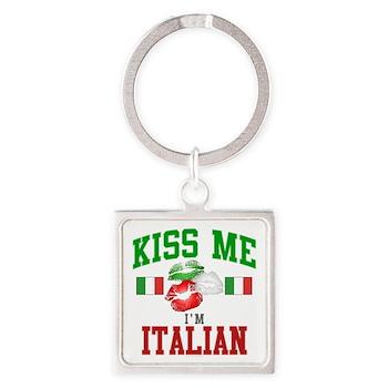 Kiss Me I'm Italian Square Keychain