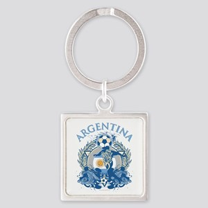 Argentina Soccer Square Keychain
