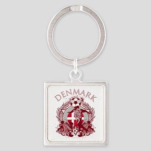Denmark Soccer Square Keychain