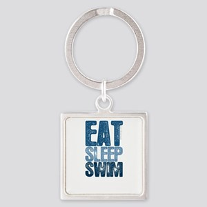 EAT SLEEP SWIM Square Keychain