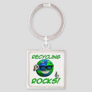 Recycling Rocks! Square Keychain