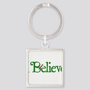 I Believe with Santa Hat Square Keychain