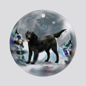 Flat-Coated Retriever Christmas Round Ornament