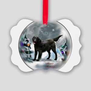 Flat-Coated Retriever Christmas Picture Ornament