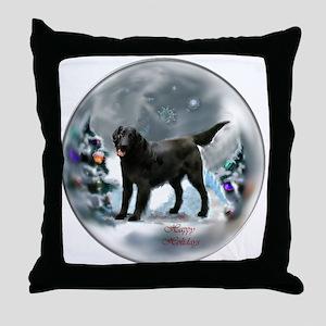 Flat-Coated Retriever Christmas Throw Pillow
