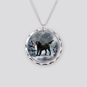 Flat-Coated Retriever Christ Necklace Circle Charm