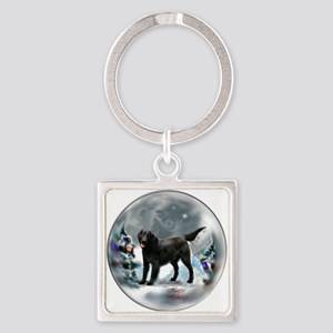 Flat-Coated Retriever Christmas Square Keychain