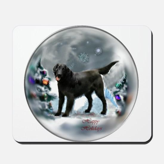 Flat-Coated Retriever Christmas Mousepad