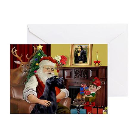 Santa's Giant Schnauzer (Blk) Greeting Cards (Pk o