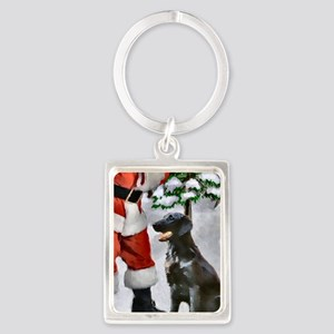 Flat-Coated Retriever Christmas Portrait Keychain