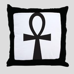 Basic Black Ankh Throw Pillow