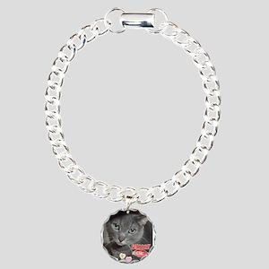 Valentine Russian Blue Gray Cat Charm Bracelet, On