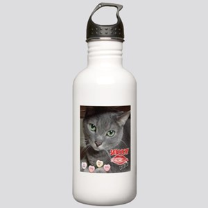 Valentine Russian Blue Gray Cat Stainless Water Bo