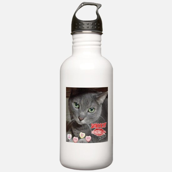 Valentine Russian Blue Gray Cat Water Bottle