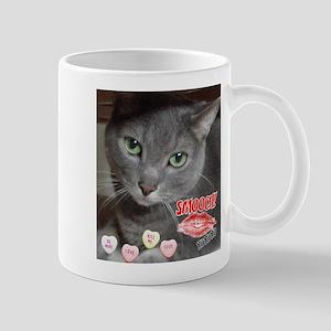 Valentine Russian Blue Gray Cat Mug