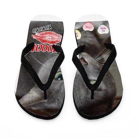 Valentine Russian Blue Gray Cat Flip Flops