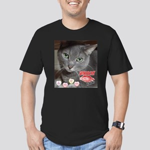 Valentine Russian Blue Gray Cat Men's Fitted T-Shi