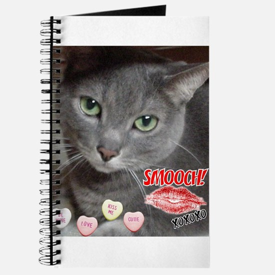 Valentine Russian Blue Gray Cat Journal