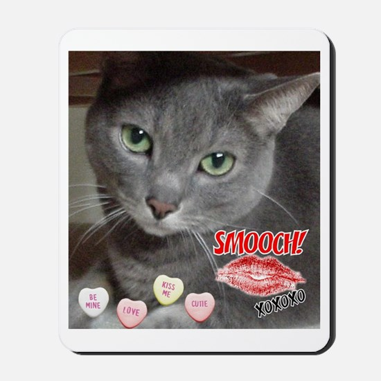 Valentine Russian Blue Gray Cat Mousepad