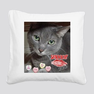 Valentine Russian Blue Gray Cat Square Canvas Pill