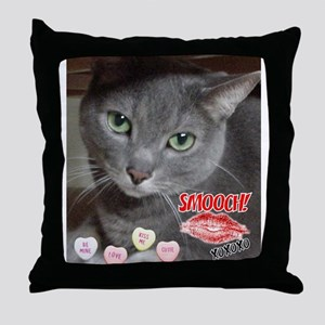 Valentine Russian Blue Gray Cat Throw Pillow