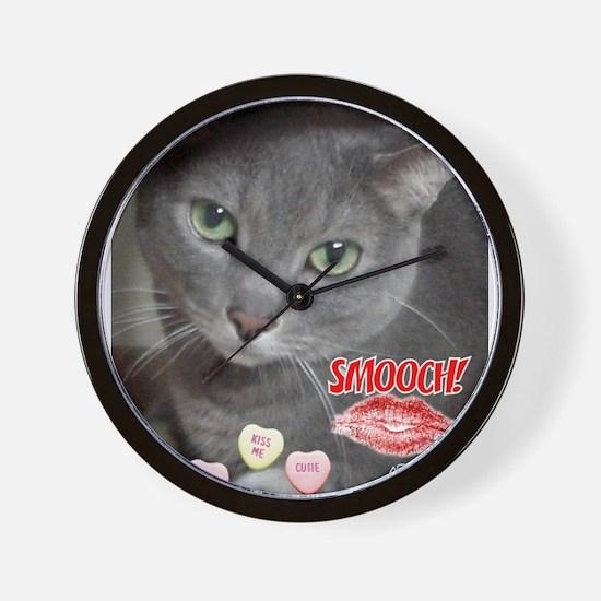 Valentine Russian Blue Gray Cat Wall Clock