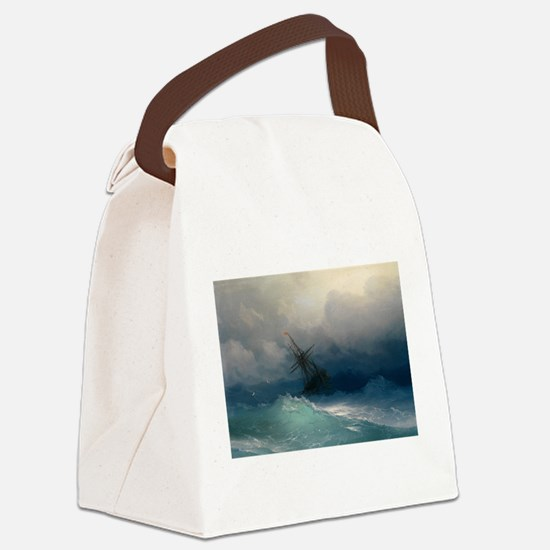 Aivazovsky - Ship on Stormy Seas Canvas Lunch Bag