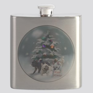 French Bulldog Christmas Flask