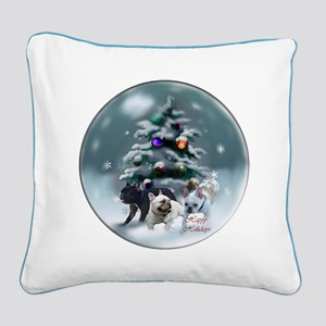 French Bulldog Christmas Square Canvas Pillow