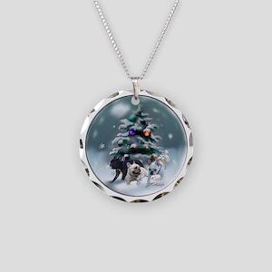 French Bulldog Christmas Necklace Circle Charm