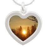 Sunrise in the Trees Silver Heart Necklace