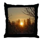 Sunrise in the Trees Throw Pillow